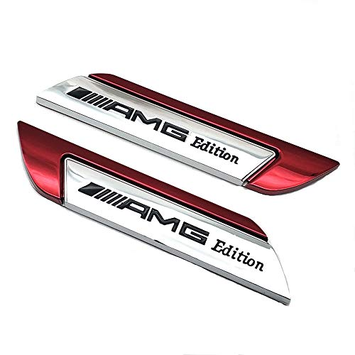 Pair Metal AMG Edition Logo Badge Side Door Fender Car Emblem Sticker Decal (Red)