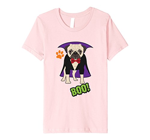 Kids Halloween Pug T-Shirt Cute Pug Dog in Vampire Costume Shirt 6 (Pugs In Costumes For Halloween)