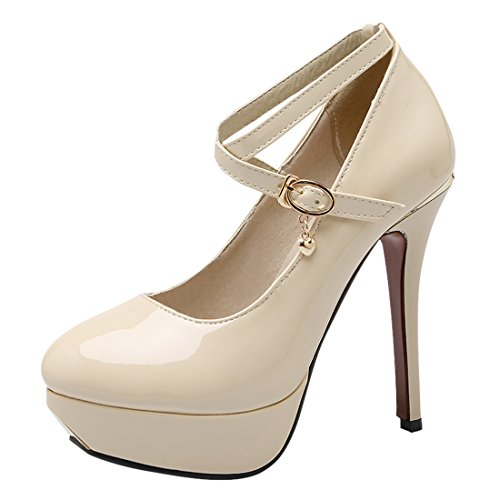 YE Damen Lack High Heels Pumps Plateau mit Knöchelriemchen und Schnalle Stiletto Elegant Schuhe Beige