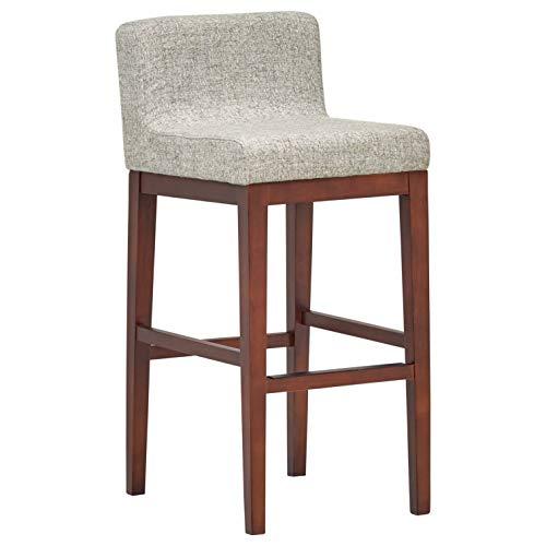 Rivet Mid-Century Modern Upholstered Low Back Kitchen Bar Stool, 37.4 Inch Height, Light ()