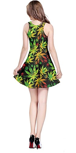 Plante De Cannabis De La Marijuana Cowcow Des Femmes Marihuana Laisse Robe Sans Manches, La Marijuana Xs-5xl Grand