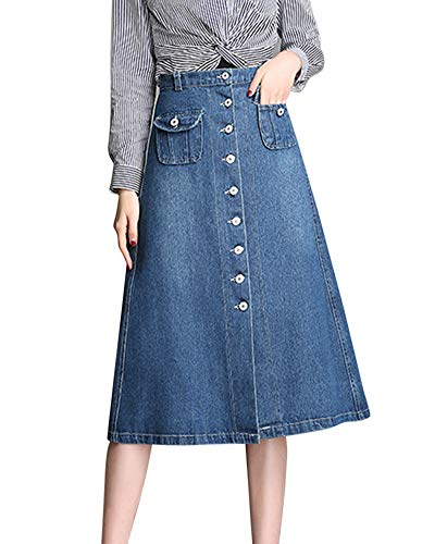 Yonglan Jupe Midi Femme Mode Casual Rtro Ourlet Large Jupe Parapluie Loisirs Jupe en Jean Bleu