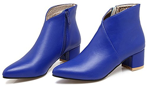 Aisun Femmes Mode Simple Habillé À Lintérieur Zip Up Pointu Orteil Bottines Mi Chunky Talons Chaussons Avec Fermeture À Glissière Bleu