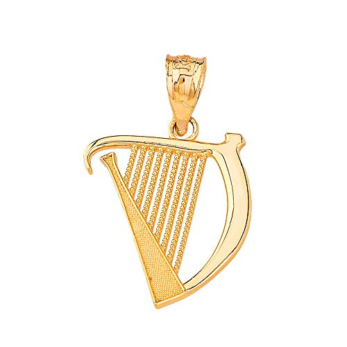 (Certified 14k Yellow Gold Harp Musical Instrument Musician Charm Pendant )
