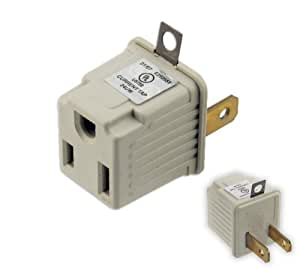 UL-Listed Plug Adapter - Convert 3-Prong Plug to 2-Prong