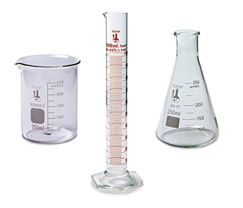 Science Measuring Set - 3 Pieces - 250ml Beaker, 250ml Flask, and 100ml Cylinder - Karter Scientific 214Z2