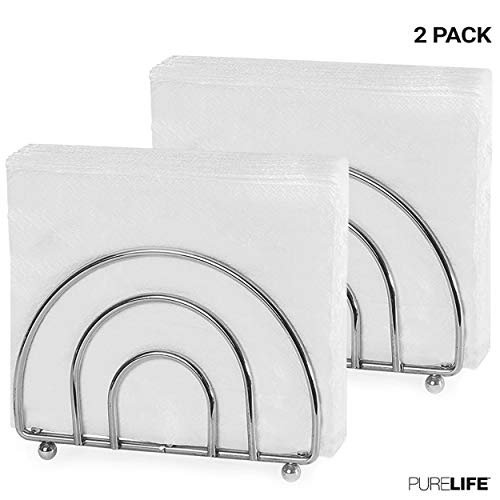 (PureLife Napkin Holder Set for Tables | Double Coating Chrome Finish | Kitchen Accessories | Modern Collection for Table Decor - Elegant Cuisine 2 pcs )