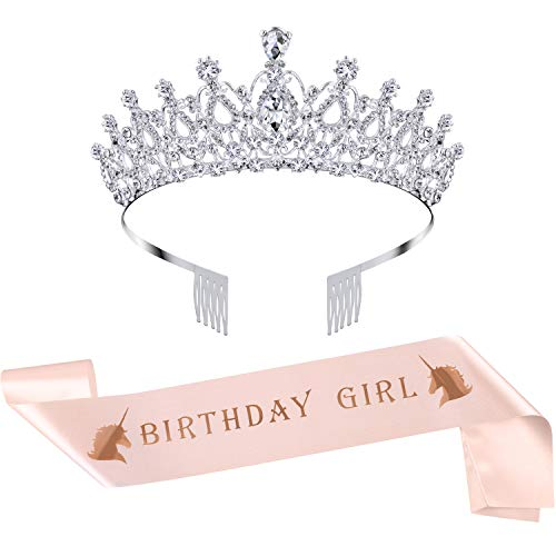 Birthday Crown Rhinestone Crystal Decoration Headband Prom Queen Crown with Birthday Girl Sash, Silver (Rose Gold)]()