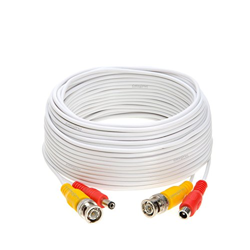 100FT White Premade BNC Video Power Cable / Wire For Security Camera, CCTV, DVR, Surveillance System, Plug & Play (White, 100)
