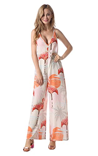 Bigyonger Womens Floral Rompers Wide Leg Spaghetti Strap Long Pants V Neck Jumpsuits