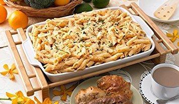 Creative Home 73458 Rectangular Stoneware Pie Pan Lasagna Roaster Dish with Bamboo Cradle, 13.4