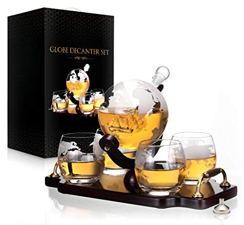 Whiskey Decanter Set World Etched Globe Decanter Antique Ship Glasses Bar Pour Funnel Stopper Liquor Dispenser Spirits Scotch Bourbon Vodka Rum Wine Tequila Brandy Perfect Gift 850 ml ()