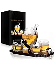 Whiskey Decanter Globe Decanter and Glass Set Antique Ship Decanter Masterpiece Great Gift for Men 28 oz 850 ml 4 Whiskey globe Glasses for Whisky Brandy Scotch Bourbon