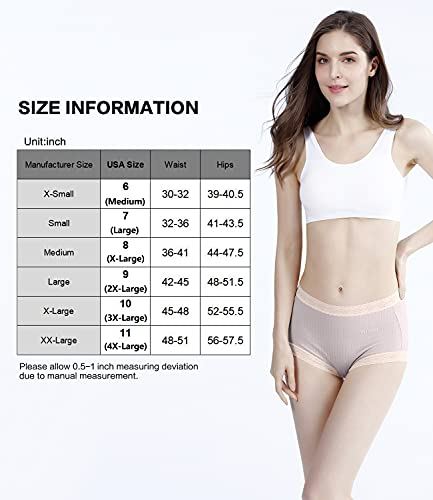Women's Briefs Cotton Panties Mid-high Waist Full Coverage Underwear Lace Underpants 5 Pack