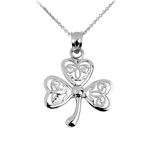 (925 Sterling Silver Irish Celtic Three Leaf Clover Good Luck Charm Pendant Necklace, 16