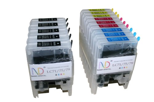 - ND Brand Dinsink © 14 Pack Compatible Ink Cartridge Replacements for Brother LC-71 , LC-75 5 Black, 3 Cyan, 3 Magenta, 3 Yellow. LC-71BK , LC-71C , LC-71M , LC-71Y , LC-75BK , LC-75C , LC-75M , LC-75Y