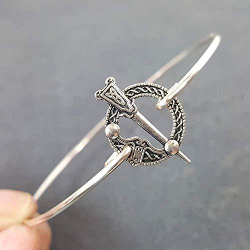 Celtic Cloak or Kilt Pin Charm Bangle Bracelet - Sterling Silver Filled, 8