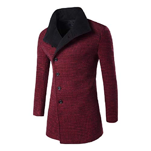 RkBaoye Men Plaid Turn-Down Collar Collision Color Md-Long Woolen Coat Overcoat 2