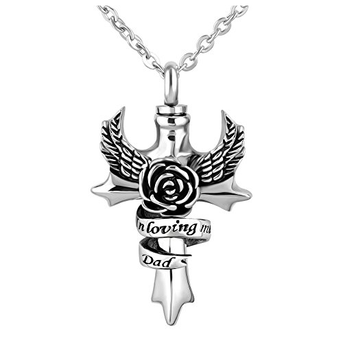 SexyMandala Cross/Angel Wings/Flower Urn Necklace for Ashes Memorial Ash Keepsake Stainless Steel Cremation Jewelry,In Loving Memory Dad ()