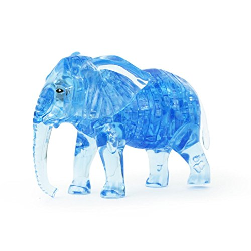 Wii Workout Mat - FINERINE 3D Crystal Puzzle, Cute Elephant Model DIY Gadget Blocks Building Toy Gift (Blue)