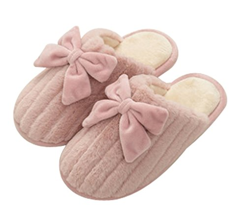 Womens Big Bow Warm Slippers Huis Indoor Dames Slippers Roze