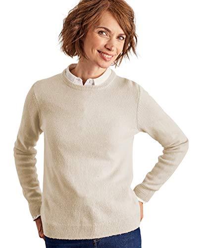 Femme Wool D'agneau Pull Rond Overs Crème Col Laine À AXxXwrBn0