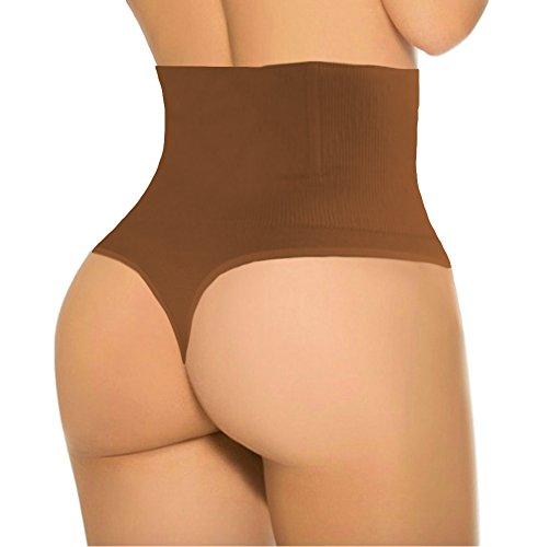 ShaperQueen 102B Thong - Women Waist Cincher Girdle Tummy Slimmer Sexy Thong Panty Shapewear (3XL, Tan (Dark))
