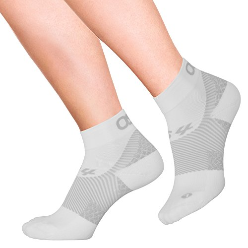 OrthoSleeve FS4 Orthotic Socks (Pair) for Plantar Fasciitis Relief, arch support and foot health featuring patented FS6 technology (White, Large)