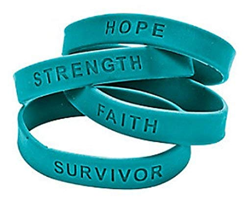 - 48 Teal Ribbon Rubber Bracelets Lot Ovarian Cervical Cancer Awareness Wristband