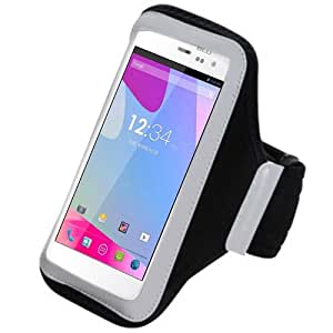 Black Silver ArmBand Workout Case Cover For BLU Life View L110a with Free Pouch