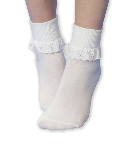 (Jefferies Socks Neat Eyelet Trim Lace Sock White/White, 12-24 Months)