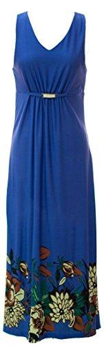 Sizes amp; Blue Smocked Gathered Plus Exotic Regular Floral Plum Maxi Feathers Print Waist Dress Waist UvTT81
