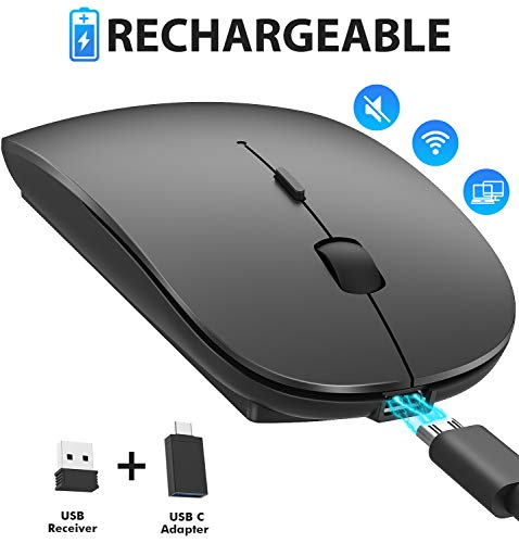 Rechargeable 2.4G Wireless Mouse, Akayoo Slim Mute Silent Click Noiseless Optical Mouse with USB Receiver Type-C, Compatible with Notebook, PC, Laptop, Computer, MacBook (Black)