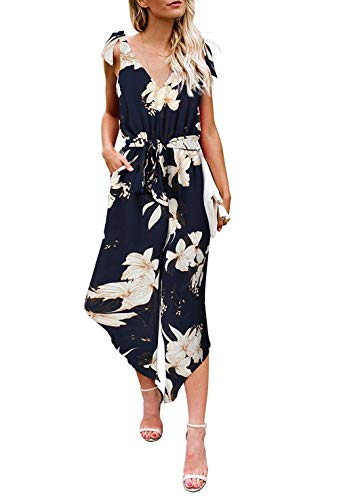 (Women Belted Culotte Jumpsuit - Summer Casual Floral Sleeveless V-Neck Wide Leg Rompers S)