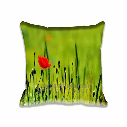 cotton-polyester-home-decorative-accent-throw-pillow-cover-poppy-flower-on-green-cushion-case-pillow