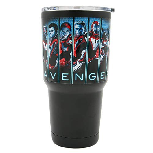 Marvel Big Mouth Tumbler - 30 oz. Stainless Steel Portable Beverage Tumbler - Spill Proof & Double Walled Tumbler, End Game Avengers Panel ()