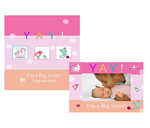 Little Sister Frame - YAY Im A Big Sister, Baby Sibling Keepsake Memory Book and Picture Photo Frame Gift Set for Kids (Big Sister)