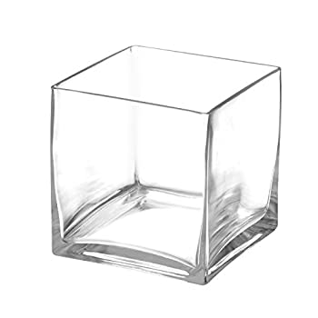 """Royal Imports Flower Glass Vase Decorative Centerpiece for Home or Wedding Clear Glass, Cube Shape, 5"""" Tall, 5""""x5"""" Opening"""
