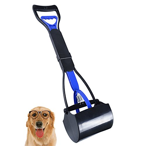 YC Pet Pooper Scooper Long Handle for Large Dog Cat Jaw Claw Rake Springs Scoop Great in Grass Snow Dirt Cement,Foldable,Great for Indoor Outdoor Use (Gravel Concrete No Patio)