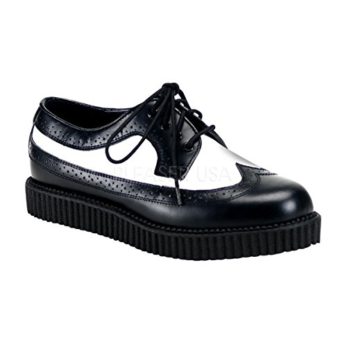 Demonia CREEPER-608 Blk-Wht Leather Size UK 11 EU 44