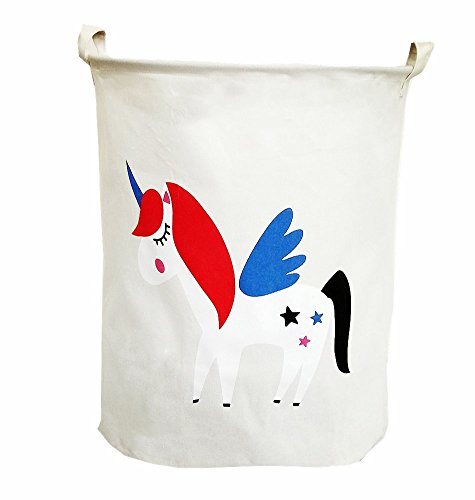 TIBAOLOVER19.7 Large Sized Waterproof Foldable Laundry Hamper Bucket,Dirty Clothes Laundry Basket, Bin Storage Organizer for Toy Collection,Canvas Storage Basket with Stylish Cartoon Design(Unicorn)
