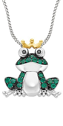 Simulated Green Emerald & Black Natural Diamond Frog Two Tone Pendant Necklace in 925 Sterling (Diamond Frog Pendant)