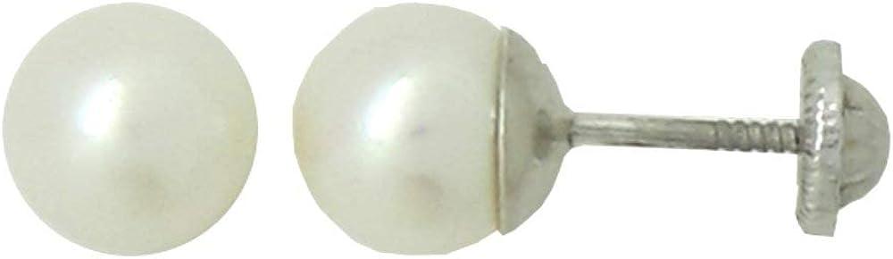 Pendientes Dormilonas Niña Perla Cultivada 5 mm Plata 925 Rosca Seguridad