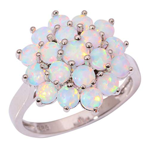 - MARRLY.H Luxe White Round Fire Opal Stone Rings Silver Plated Flower Bloom Plant Big Ring Wedding Party Jewelry Gifts Women Girls White 10