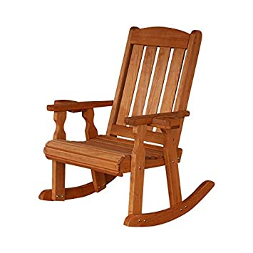 Amish Heavy Duty 600 Lb Mission Pressure Treated Rocking Chair with Cupholders Cedar Stain