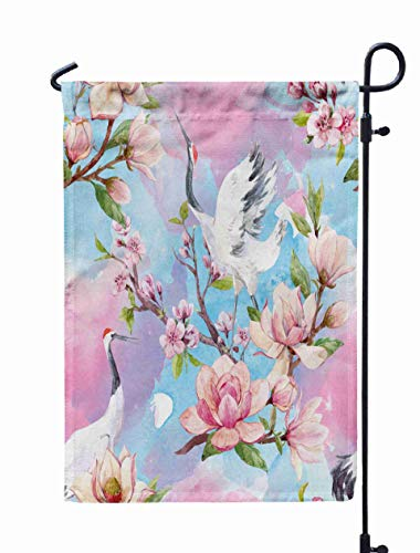 (Shorping Home Garden Flag, 12x18Inch Watercolor Pattern Red Heads Crane Japanese Traditional Blossoms of for Holiday and Seasonal Double-Sided Printing Yards)