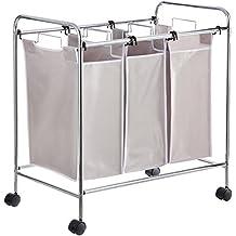 AmazonBasics 3-Bag Laundry Hamper Sorter Basket