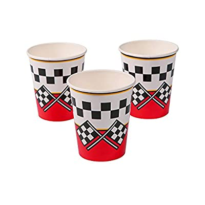 Multiple Racing Party Theme Tableware Kid's Race Birthday Party Supplies Set for 16 Plates, Napkins, Cups: Toys & Games