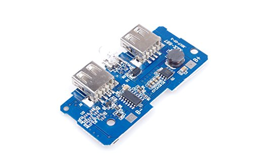 KNACRO Power Bank DIY Boost Module Control Board Dual USB Port 3.7V Boost To 5V 1A/5V 2A Output Adaptive Suitable for 3.7V-4.2V Lithium Polymer Battery 2-6 String 18650 Battery Parallel