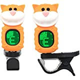 Westshell Guitar Tuner Clip-On Cartoon Cat with LCD Display for All Instruments with Bass, Ukulele,Violin Accessories-Yellow,T-05